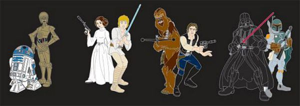 Star Wars Animated Characters Pin Set
