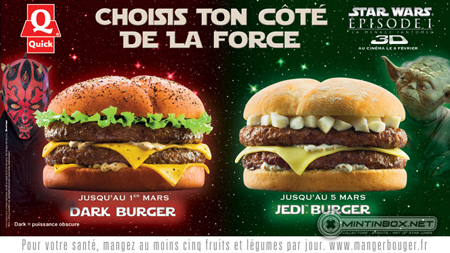 star wars Quick sandwich dark burger jedi burger