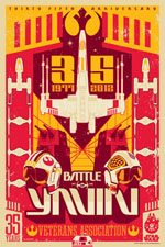 star wars acme archives artwork battle of yavin 35 years metalic