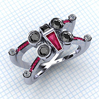 star wars bague jewelery cloud city at-at x-wing tie fighter